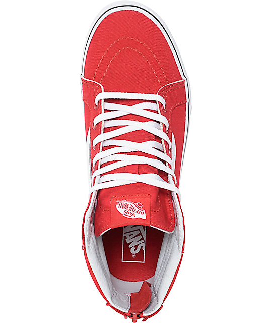 d5753b1271 ... Vans Sk8-Hi Zip Racing Red Kids Skate Shoes ...