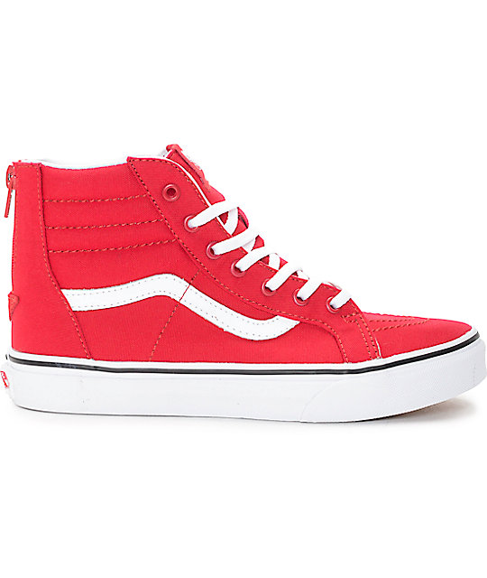 43a1064891e ... Vans Sk8-Hi Zip Racing Red Kids Skate Shoes