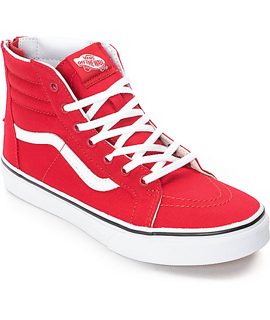 6c26a7522d Vans Sk8-Hi Zip Racing Red Kids Skate Shoes