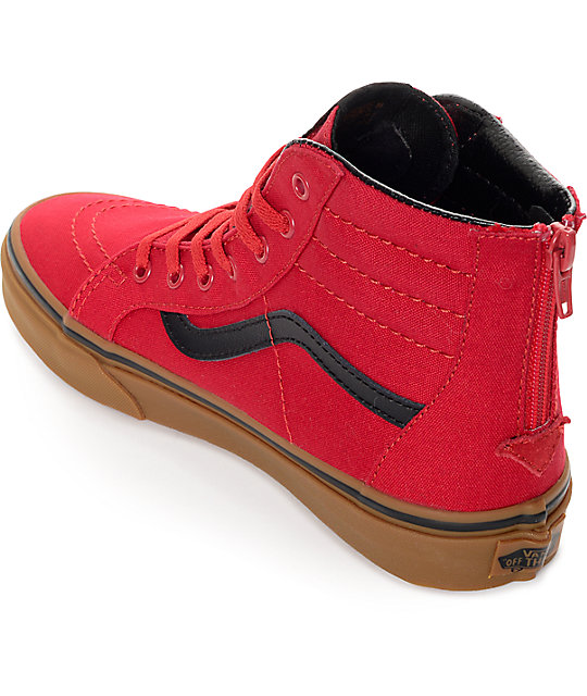 ... Vans Sk8 Hi Zip Red   Gum Kids Shoes ... a2367263158c