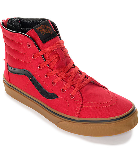 04f32f8ab1bb Vans Sk8 Hi Zip Red   Gum Kids Shoes