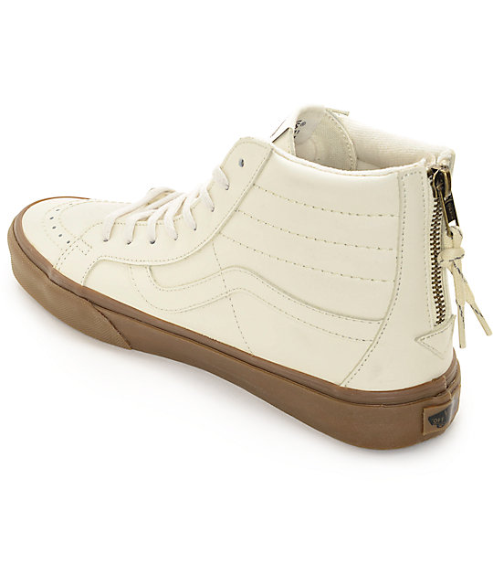 Vans Sk8-Hi Zip White Leather & Gum Skate Shoes