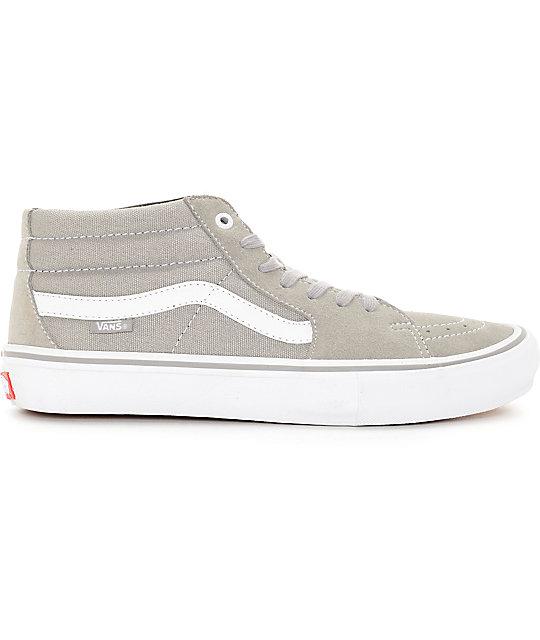 e17f74edd4b095 ... Vans Sk8-Mid Pro Drizzle Grey   White Skate Shoes