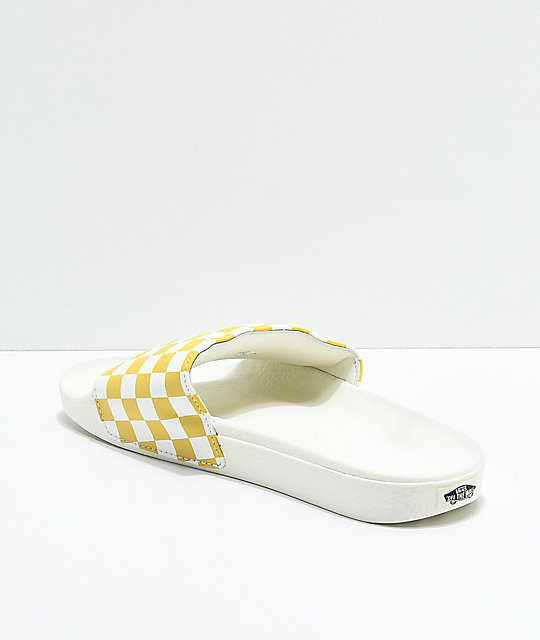 Vans Slide-On sandalias a cuadros en amarillo