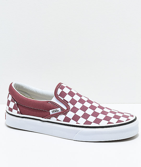 8c99e0605a5 Vans Slip-On Apple   White Checkered Skate Shoes