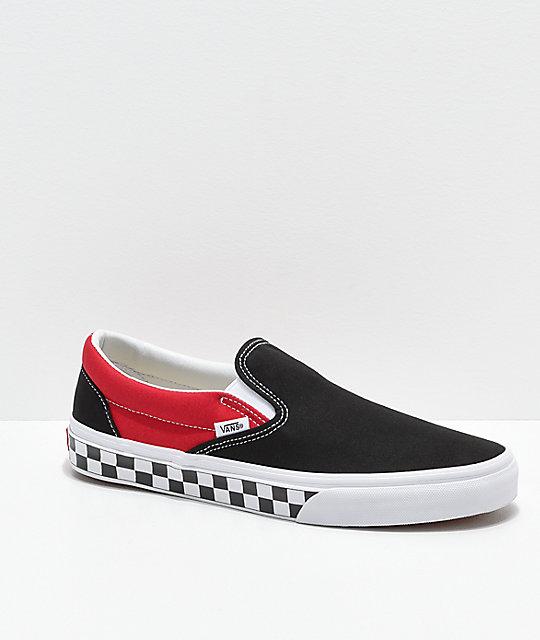 Vans Men's Classic Slip On Checkerboard Red Sneaker