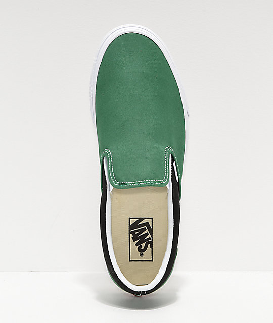 Vans Slip-On BMX Green, White & Black Checkerboard Skate Shoes