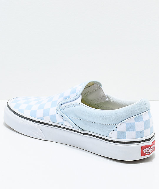 Vans Slip-On Baby Blue & White Checkered Skate Shoes