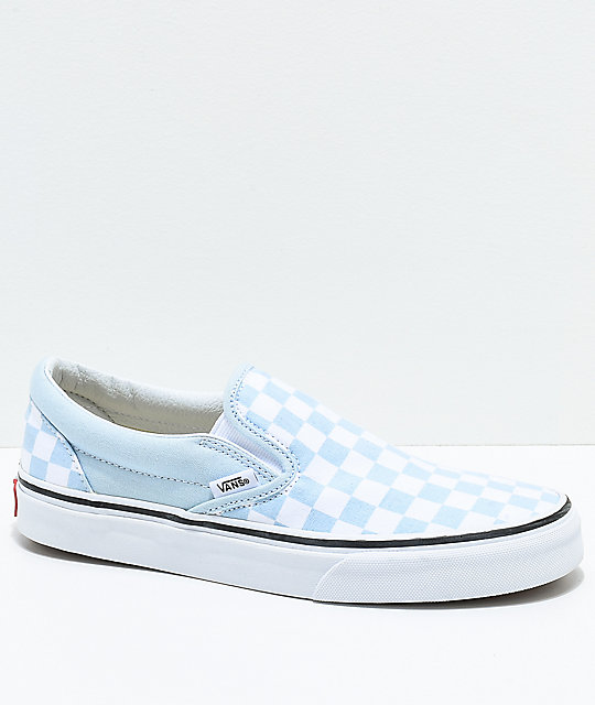efb4a3f6b5 Vans Slip-On Baby Blue   White Checkered Skate Shoes