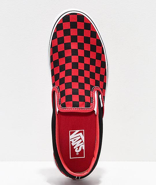 17a14c48a9e ... Vans Slip-On Black   Formula Red Checkerboard Skate Shoes ...