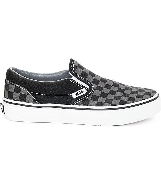 a6dbf0e85f ... Vans Slip-On Black   Pewter Checkered Kids Skate Shoes