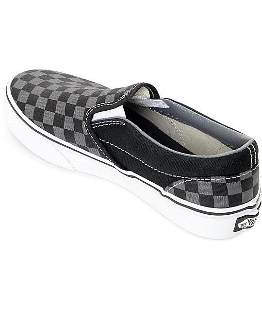 e1885c18cc904 Vans Slip-On Black & Pewter Checkered Kids Skate Shoes | Zumiez