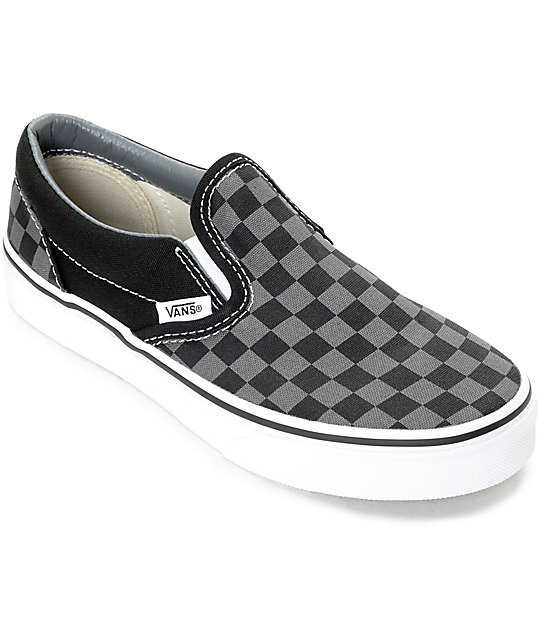 wholesale outlet search for clearance distinctive style Vans Slip-On Black & Pewter Checkered Kids Skate Shoes