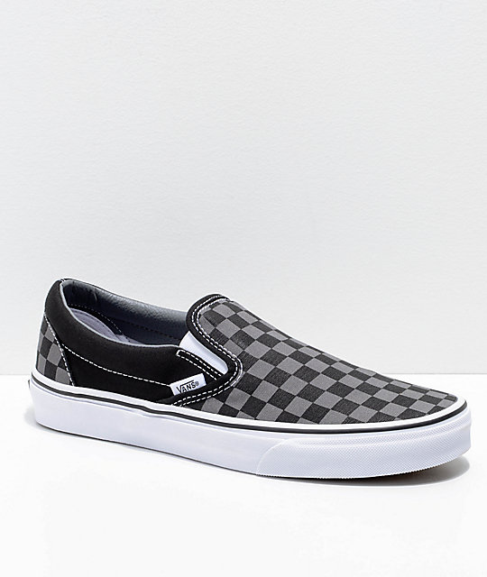 1f155f535ea Vans Slip-On Black   Pewter Checkered Skate Shoes