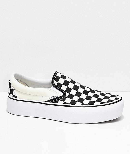 ce2e79639f Vans Slip-On Black & White Checkered Platform Shoes