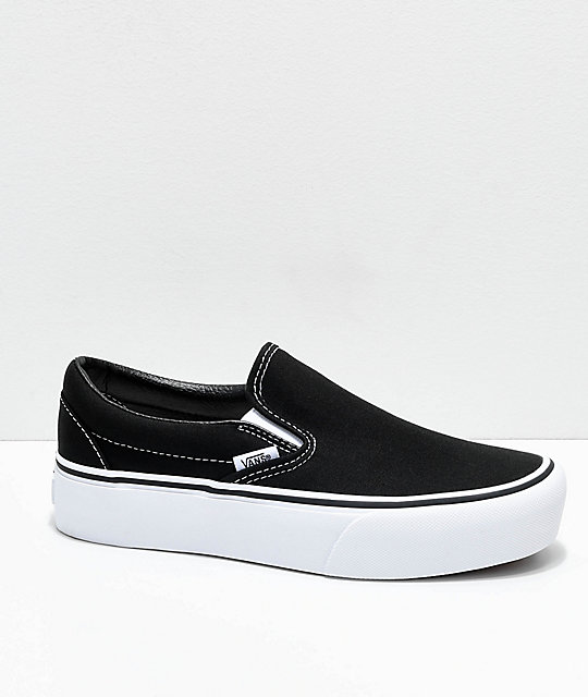 Vans Slip-On Black & White Platform Skate Shoes