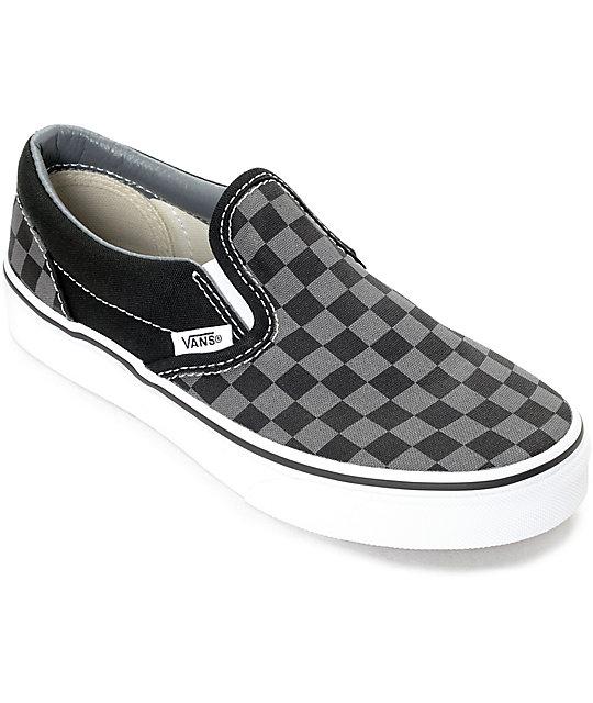 Vans Slip-On Black & Pewter Checkered Kids Skate Shoes