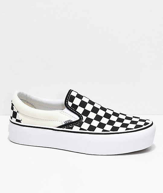 Vans Slip-On Black & White Checkered Platform Shoes | Zumiez