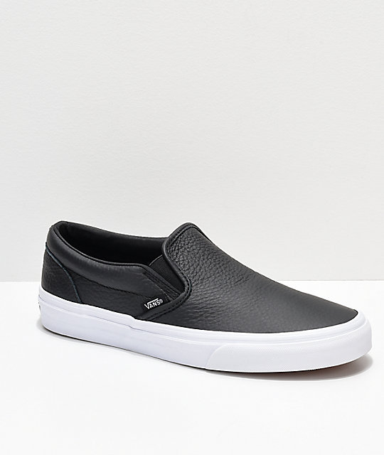 Vans Slip,On Black Tumbled Leather Skate Shoes
