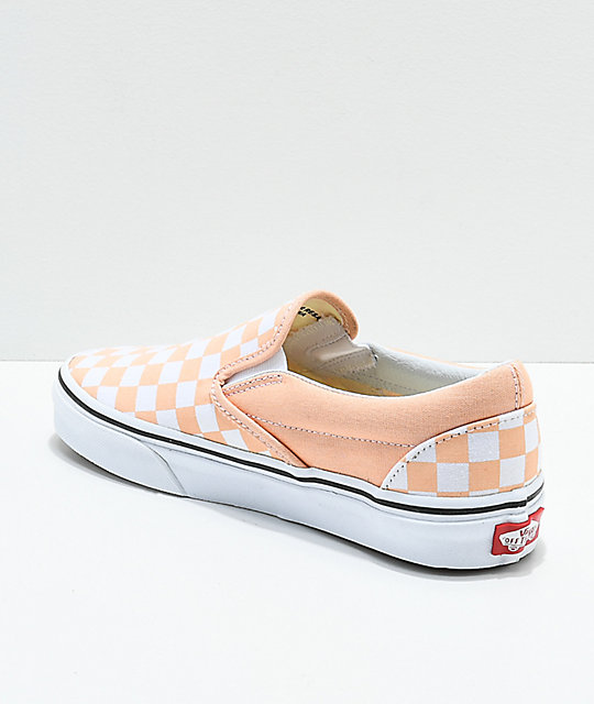 Vans Slip-On Bleached Apricot & White Checkerboard Skate Shoes