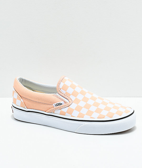 b2b3a8db914 Vans Slip-On Bleached Apricot   White Checkerboard Skate Shoes