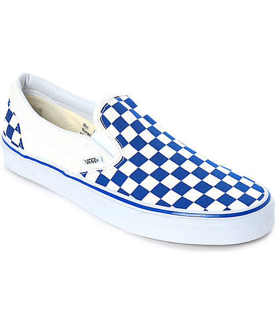 Vans Slip-On Blue   White Checkered Skate Shoes  e68485b02