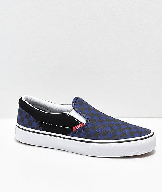 Vans Slip-On Blue & Black Checkerboard Skate Shoes