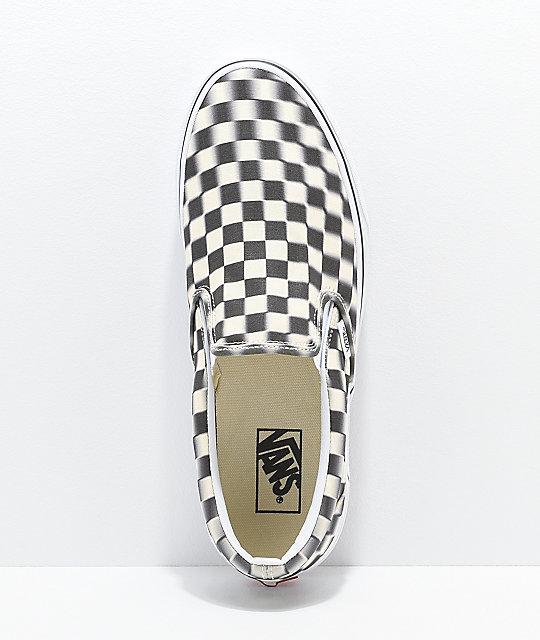 29217325015037 ... Vans Slip-On Blur Black   White Checkerboard Skate Shoes ...