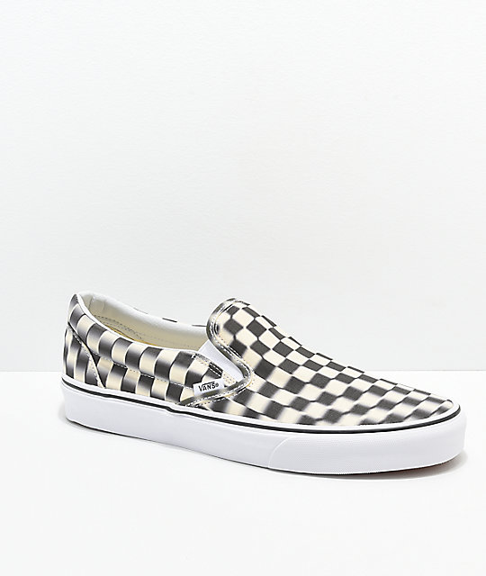 569c82ca36d Vans Slip-On Blur Black   White Checkerboard Skate Shoes