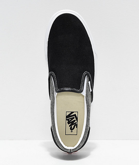 Vans Slip-On Chambray, Black & White Skate Shoes