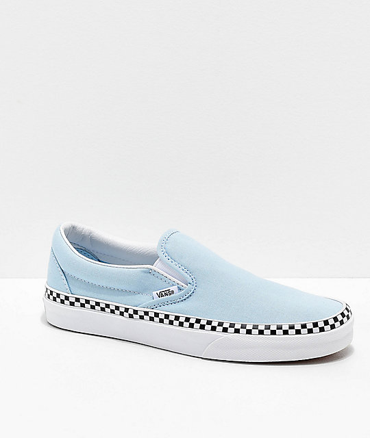 5d361a9524 Vans Slip-On Check Foxing Blue   White Skate Shoes