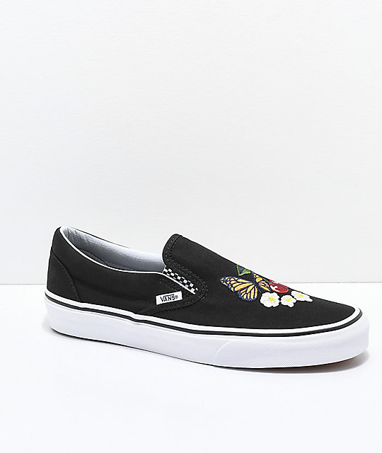 4d6c855290 Vans Slip-On Checker Floral Black Skate Shoes