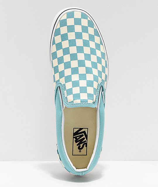 Vans Slip-On Checkerboard Aqua & White Skate Shoes