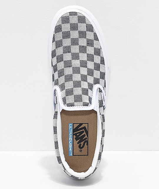 Vans Slip-On Checkerboard Denim Platform Skate Shoes