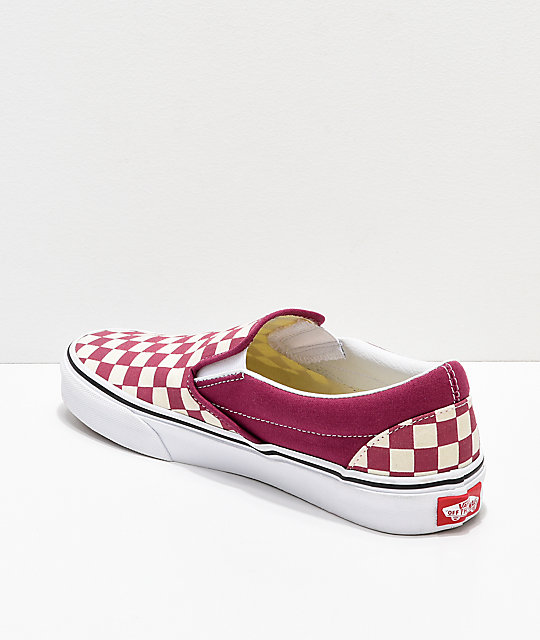 0f39411e8ab ... Vans Slip On Checkerboard Dry Rose   White Shoes ...
