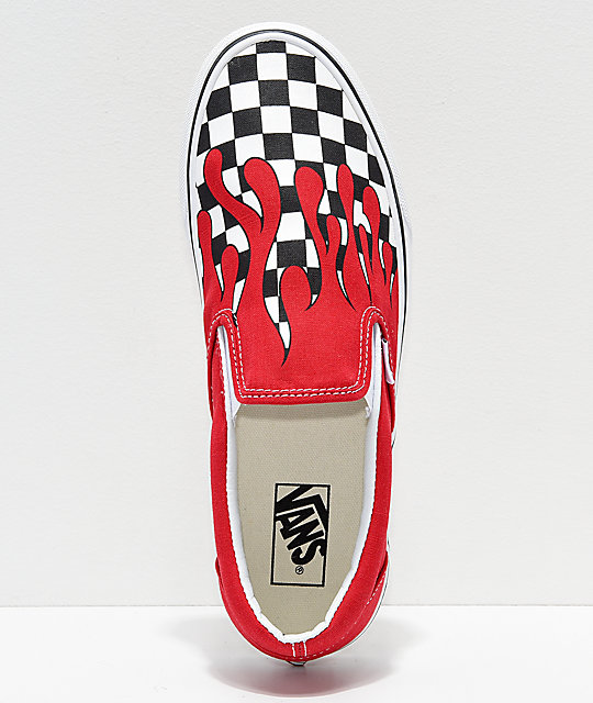 36942f119eb2c ... Vans Slip-On Checkerboard Flame Red   White Skate Shoes ...