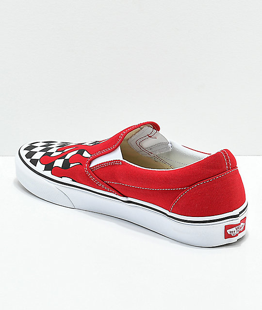 4909bb44ceca56 ... Vans Slip-On Checkerboard Flame Red   White Skate Shoes ...