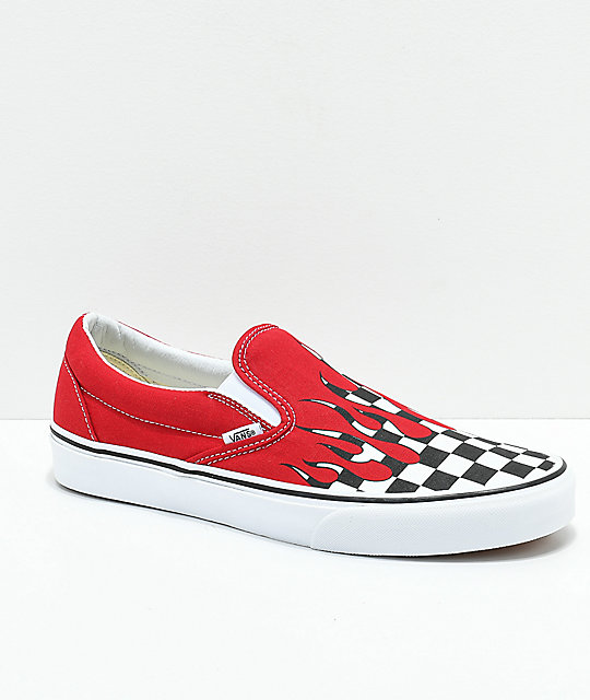 Vans Slip-On Checkerboard Flame Red & White Skate Shoes