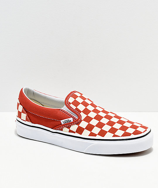 0f1c163811c2 Vans Slip On Checkerboard Hot Sauce   White Shoes