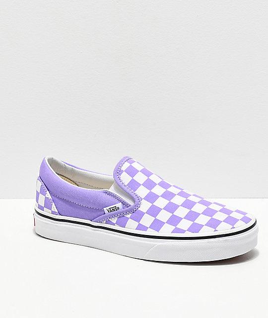 vans chaussures purple checkered