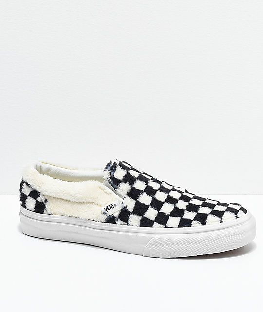 fashion style of 2019 footwear where can i buy Vans Slip-On Checkered Black & White Sherpa Skate Shoes
