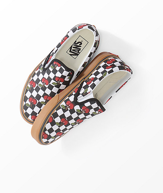 Vans Slip-On Cherry Black & Gum Checkered Skate Shoes