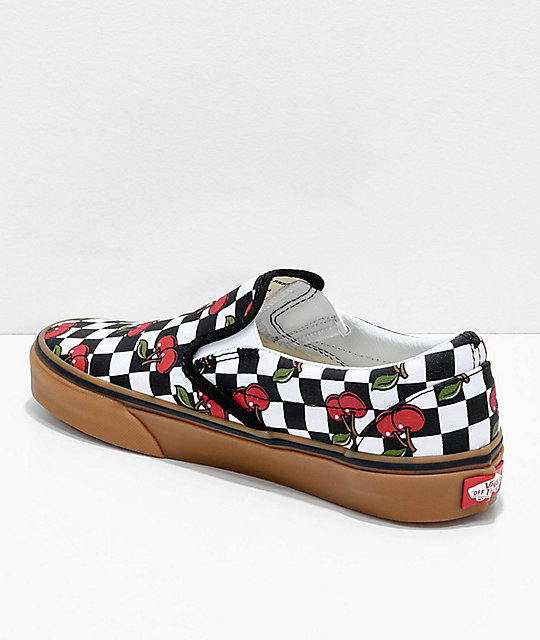 fdb34b60a56 ... Vans Slip-On Cherry Black   Gum Checkered Skate Shoes ...