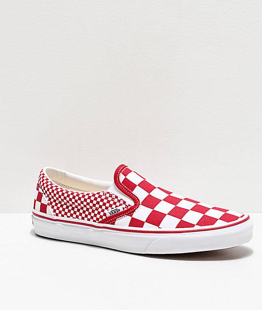 Vans Slip On Chili Red & White Mix Checkerboard Skate Shoes