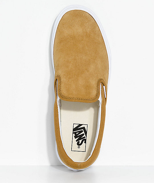 Vans Slip-On Classic Bronze & White Suede Shoes