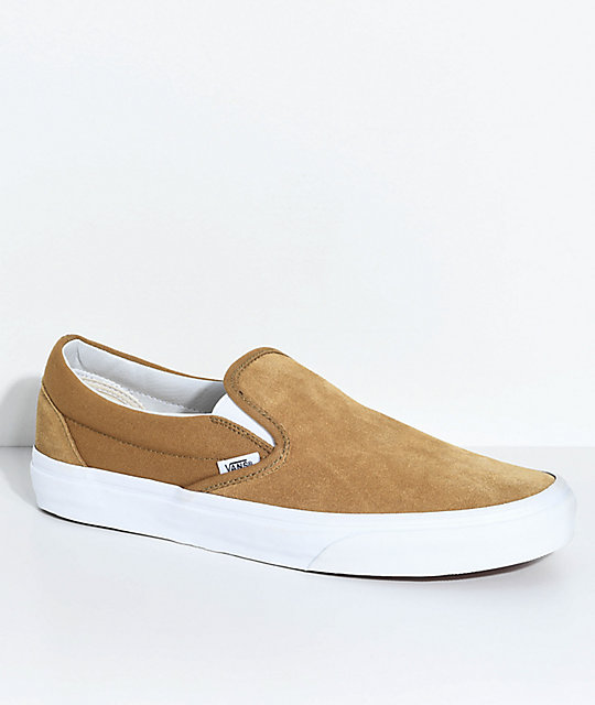 02cee41a33 Vans Slip-On Classic Bronze   White Suede Shoes
