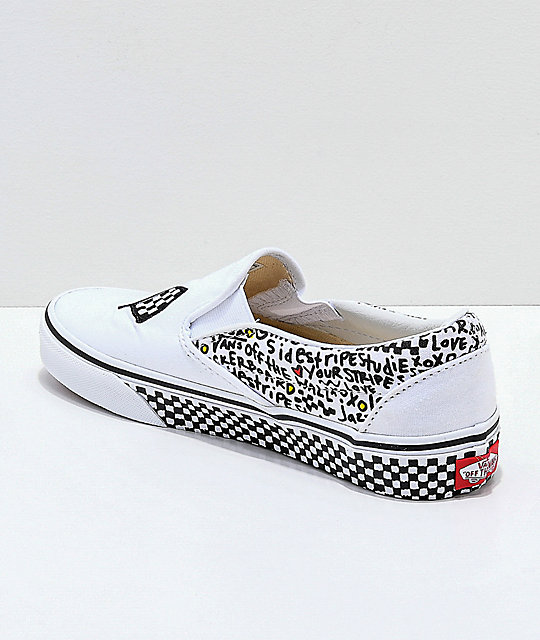 Vans Slip-On DIY White & Black Skate Shoes