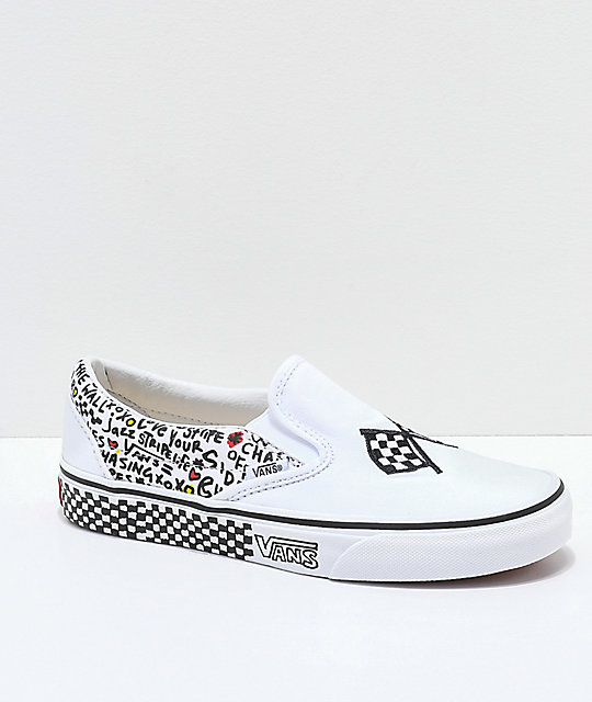Vans Slip-On DIY zapatos de skate en blanco y negro
