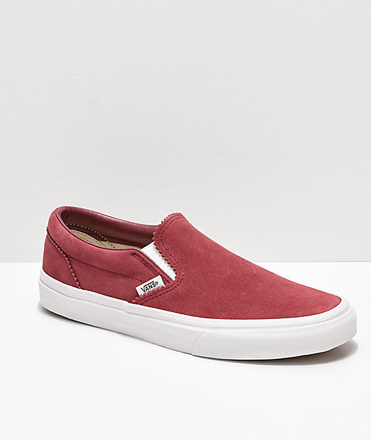 Vans Slip-On Dark Pink & White Skate Shoes
