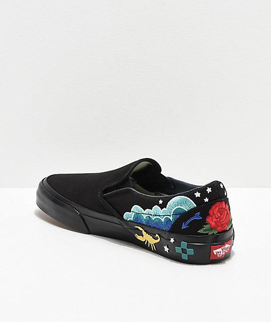 fd9f5191399fe6 ... Vans Slip-On Desert Embellish Black Skate Shoes ...